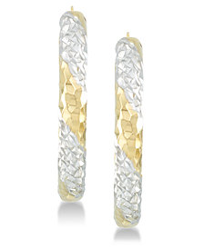 Signature Gold™ Diamond Accent Patterned Hoop Earrings in 14k Gold & 14k White Gold over Resin