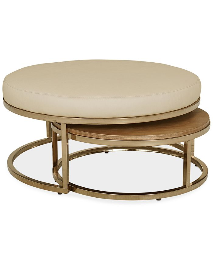 Furniture Jennova Upholstered Round Nesting Coffee Table Created For Macy S Reviews Furniture Macy S