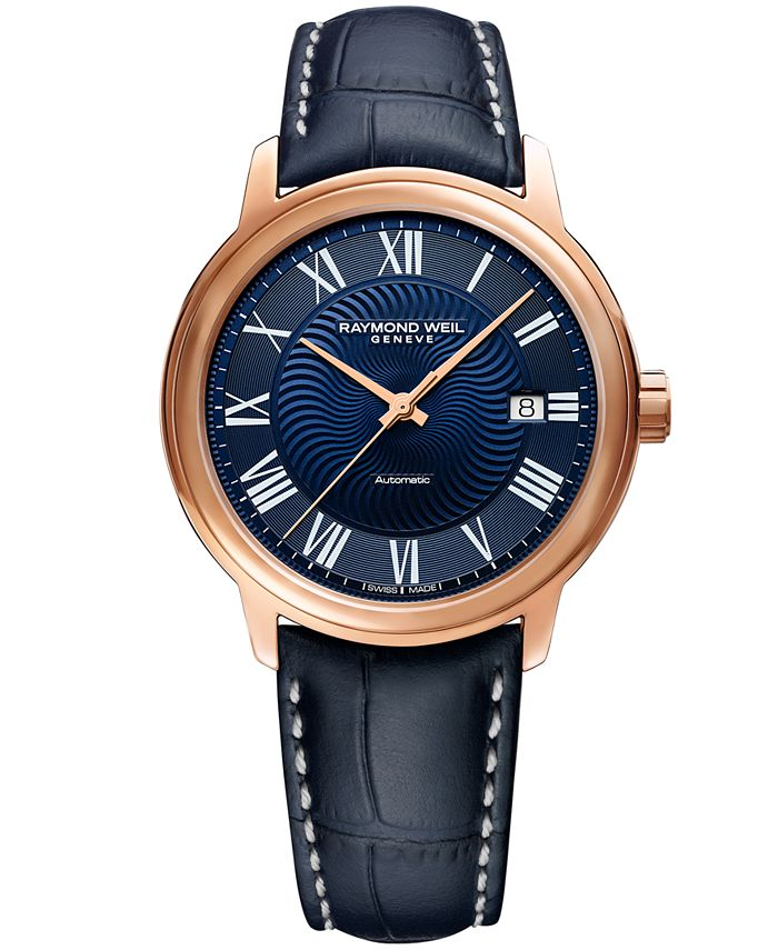 Raymond Weil - Men's Swiss Automatic Maestro Blue Leather Strap Watch 39.5mm