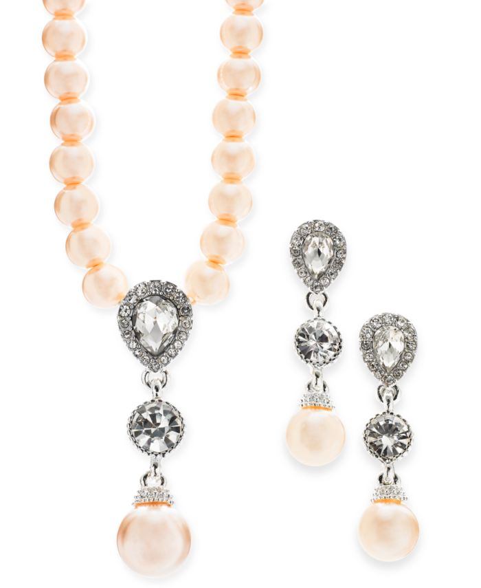 Charter Club Cubic Zirconia and Imitation Pearl Lariat Necklace & Drop Earrings Boxed Set, Created for Macy's  & Reviews - Fashion Jewelry - Jewelry & Watches - Macy's