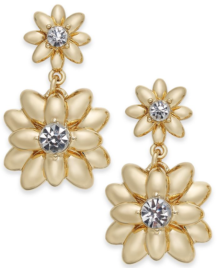 Charter Club - Gold-Tone Crystal & Imitation Pearl Flower Drop Earrings