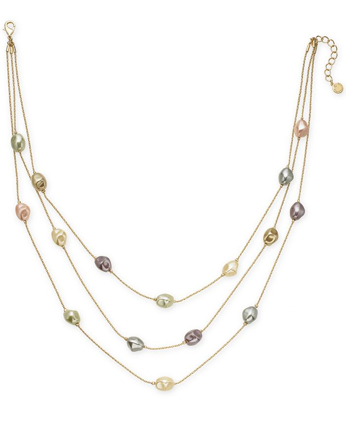 "Charter Club - Gold-Tone Imitation Pearl Triple-Row Necklace, 20"" + 2"" extender"