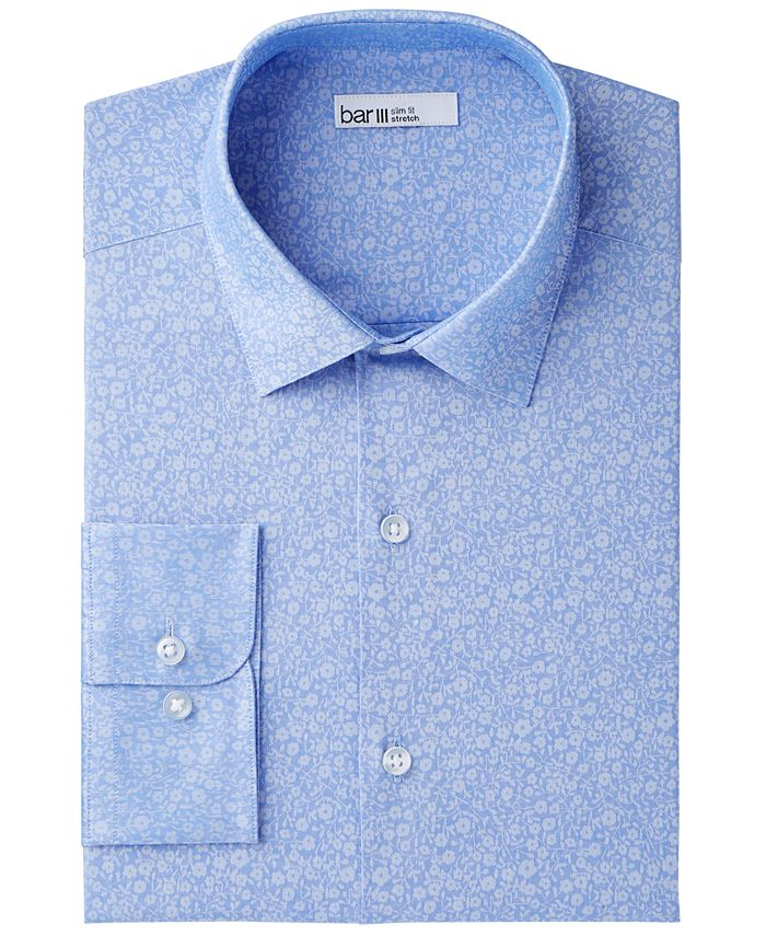 Bar III - Men's Slim-Fit Stretch Easy-Care Small Jacquard Floral Dress Shirt