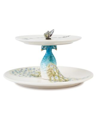 CLOSEOUT! Edie Rose by Rachel Bilson Dinnerware, Peacock 2 Tiered Server
