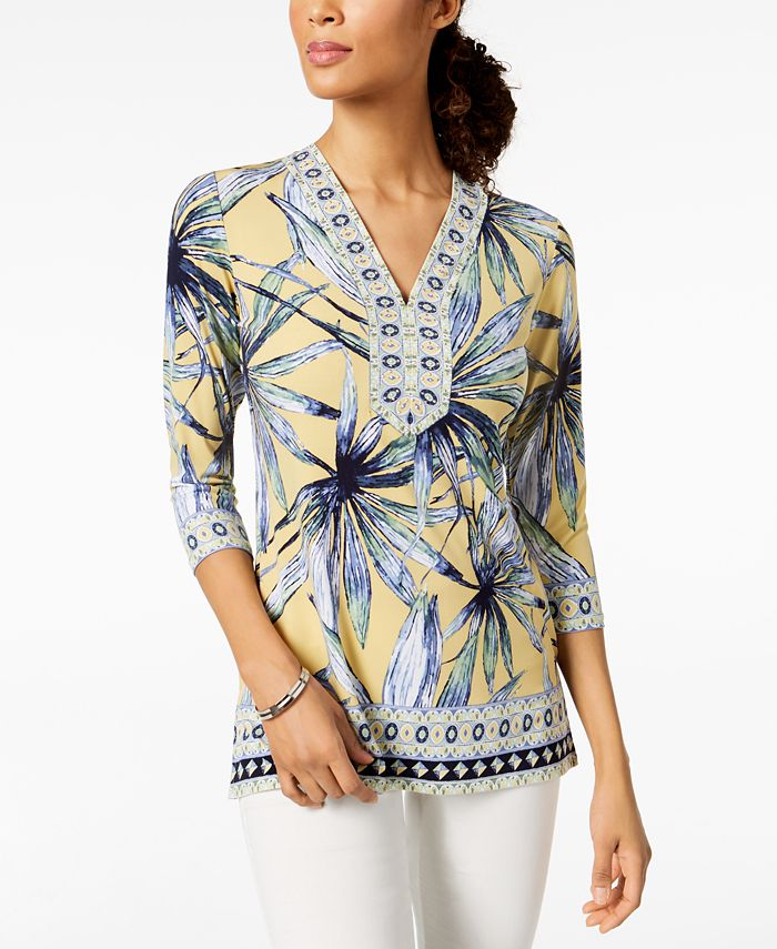 JM Collection - Petite Printed Embellished Tunic,
