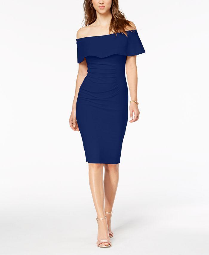 Xscape Off The Shoulder Sheath Petite Dress Reviews Dresses Petites Macy S