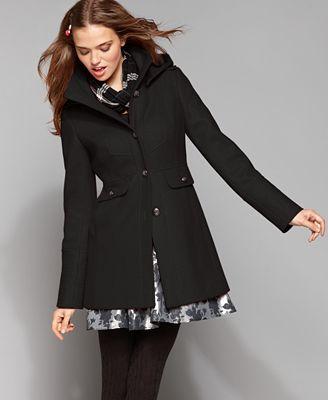 Womens Wool Coat With Hood - Black Coat