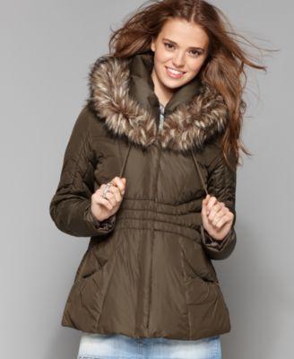 Steve Madden Coat, Long Sleeve Faux Fur Trim Hooded Puffer