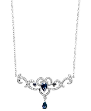 Victoria Townsend Sterling Silver Necklace, Sapphire (9/10 ct. t.w.) and Diamond Accent Filigree Pendant