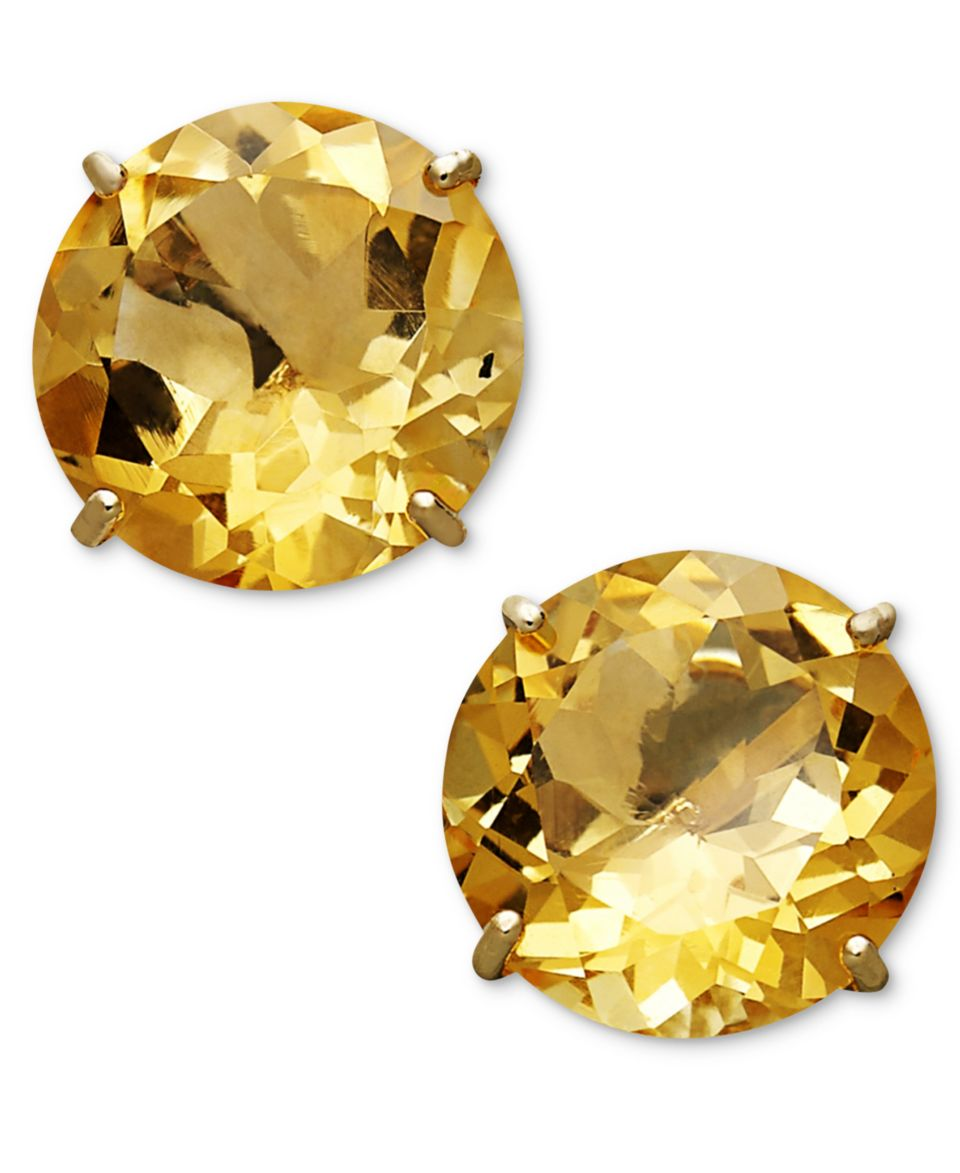 10k Gold Earrings Citrine Round Stud 3 4 Ct Tw Natural Golden Orange 13ct Jewelry Watches