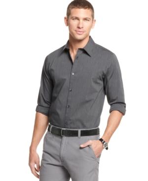 Calvin Klein Shirt, Mini Stripe Long Sleeve Shirt