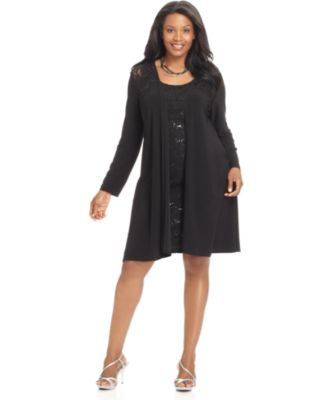 Onyx Plus Size Dress and Jacket, Sleeveless Lace Overlay Sequin Sheath Cocktail Dress