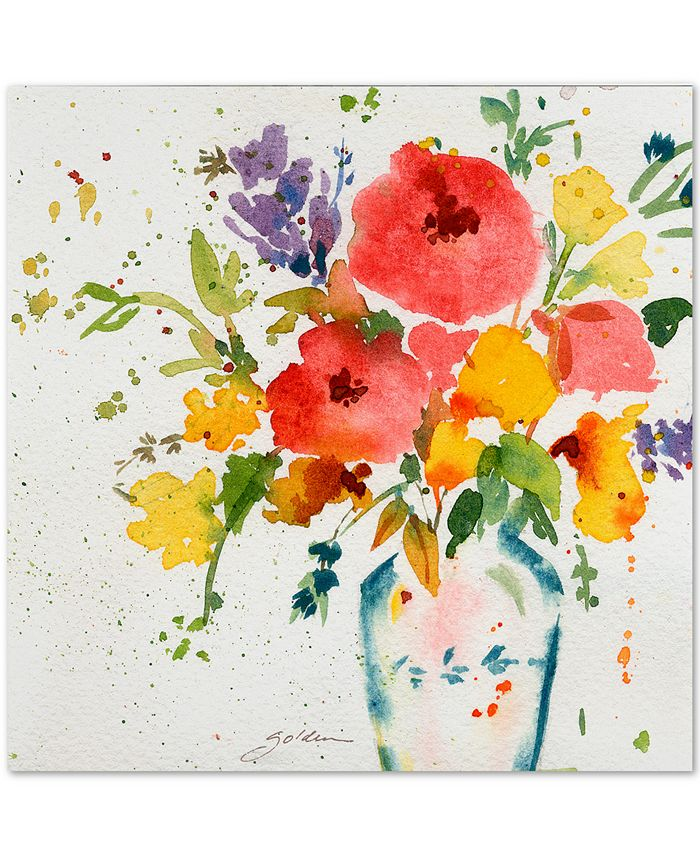 """Trademark Global - Sheila Golden White Vase with Bright Flowers 24"""" x 24"""" Canvas Art Print"""