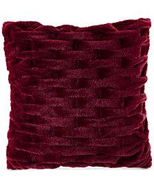 """Madison Park Ruched 20"""" Square Faux-Fur Decorative Pillow"""