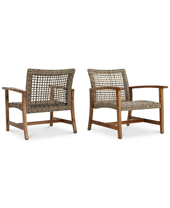 Noble House - Jensen Outdoor Club Chairs (Set of 2), Quick Ship