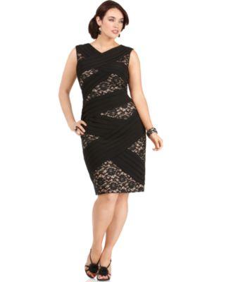 Adrianna Papell Plus Size Dress, Sleeveless V-Neck Bandage Lace Sheath