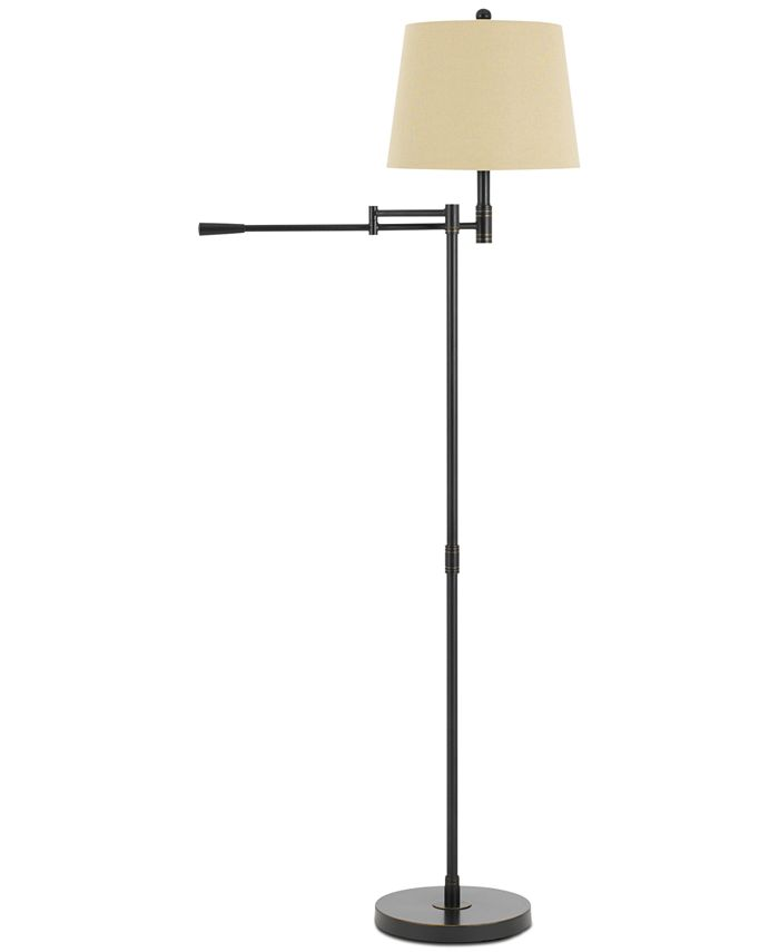 Cal Lighting - Monticello Metal Swing Arm Floor Lamp with Burlap Shade