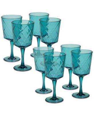 Teal Diamond Acrylic 8-Pc. All-Purpose Goblet Set