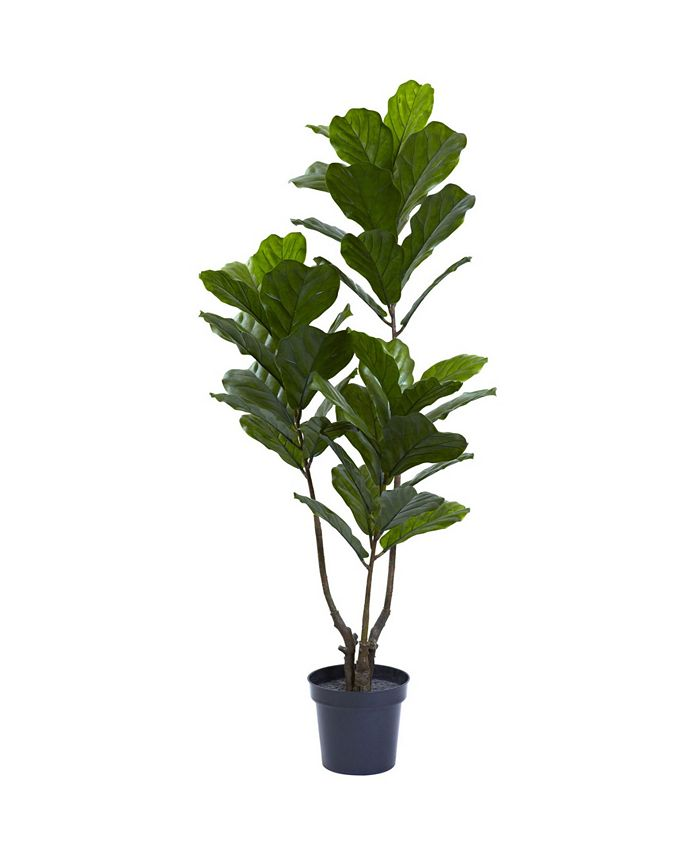 """Nearly Natural - 65"""" Indoor/Outdoor UV-Resistant Artificial Fiddle Leaf Tree"""