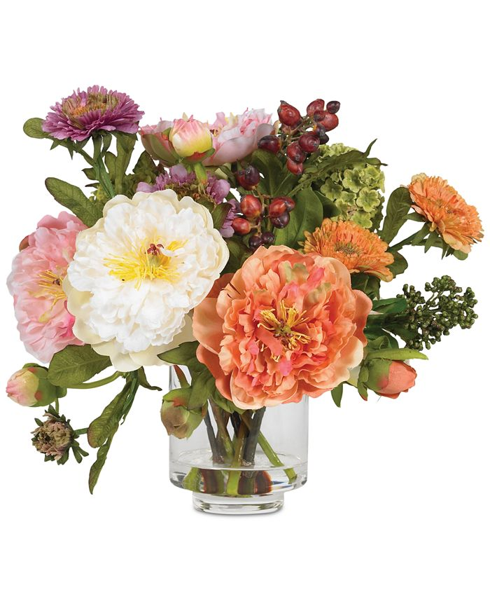 Nearly Natural - Artificial Peony Arrangement with Glass Vase
