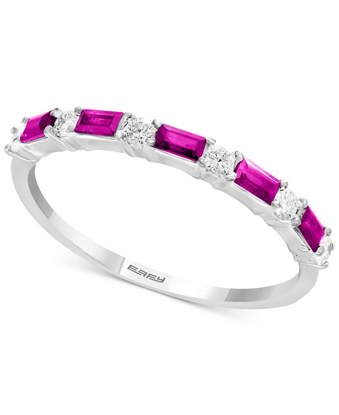 EFFY Collection - Ruby (1/3 ct. t.w.) & Diamond (1/8 ct. t.w.) Ring in 14k White Gold