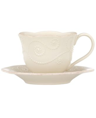 Lenox Dinnerware, French Perle White Cup and Saucer Set