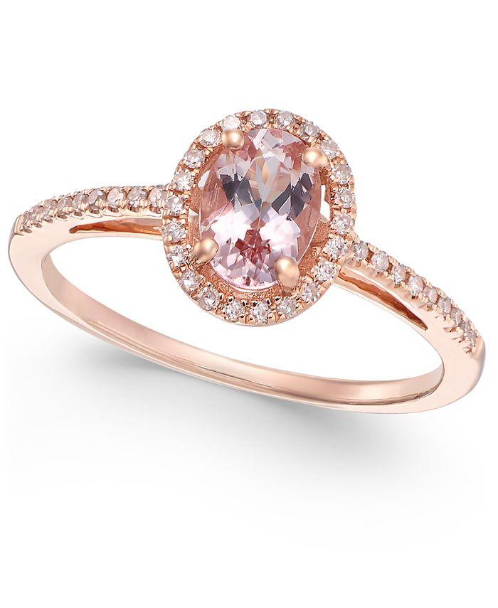 Macy's - Morganite (5/8 ct. t.w.) and Diamond (1/6 ct. t.w.) Ring in 14k Rose Gold