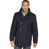 Lux-ID 204454  Tommy Hilfiger Coat, Melton Wool-Blend Peacoat