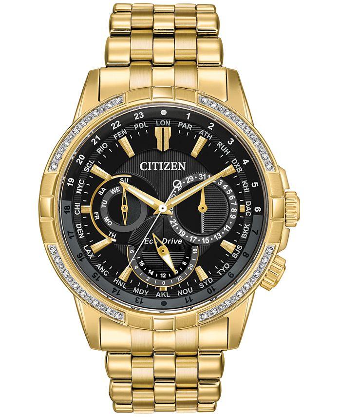 Citizen - Men's Calendrier Diamond-Accent Gold-Tone Stainless Steel Bracelet Watch 44mm