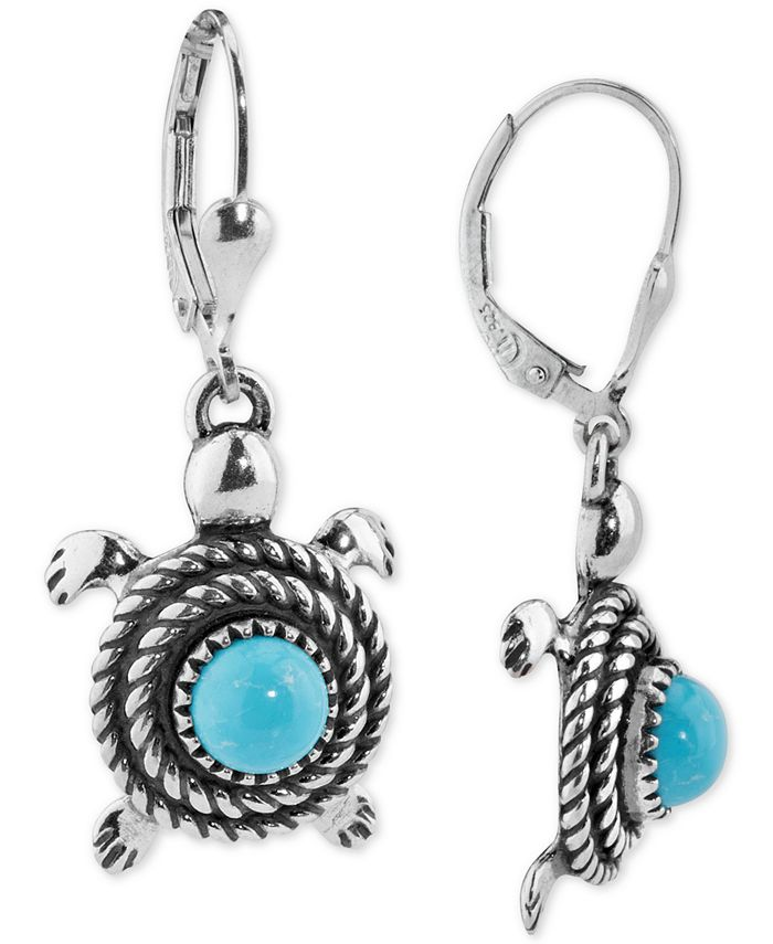 American West - Turquoise Turtle Drop Earrings (2-5/8 ct. t.w.) in Sterling Silver