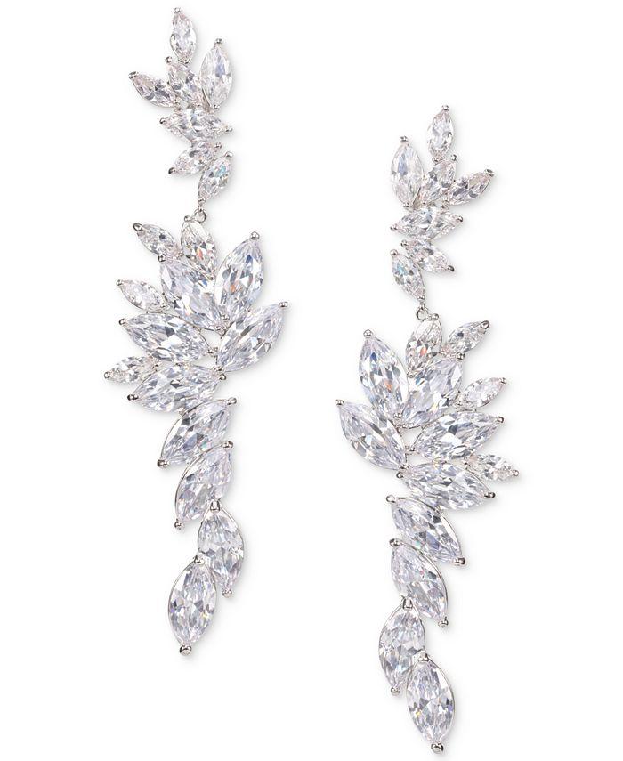 Nina - Silver-Tone Layered Cubic Zirconia Drop Earrings