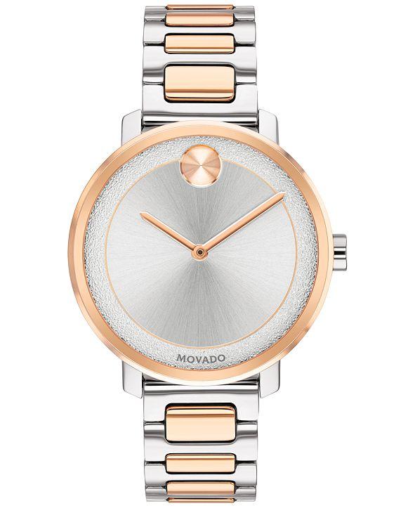 Movado Women's Swiss BOLD Two-Tone Stainless Steel Bracelet Watch 34mm