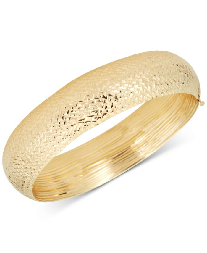 Macy's Diamond-Cut Wide Bangle Bracelet in 14k Gold & Reviews - Bracelets - Jewelry & Watches - Macy's