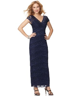 b6a711f06206 Sleeve V-Neck Beaded Lace Evening Gown - Dresses - Women -