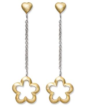 Giani Bernini 24k Gold Over Sterling Silver Earrings, Flower and Heart Drop Earrings