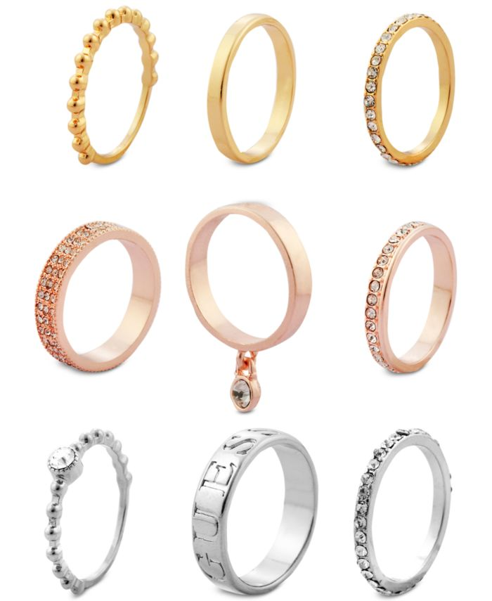 GUESS Tri-Tone 9-Pc. Set Crystal Stacker Rings  & Reviews - Rings - Jewelry & Watches - Macy's