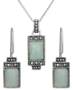 Genevieve & Grace Sterling Silver Pendant and Earrings Set, Jade and Marcasite Rectangle