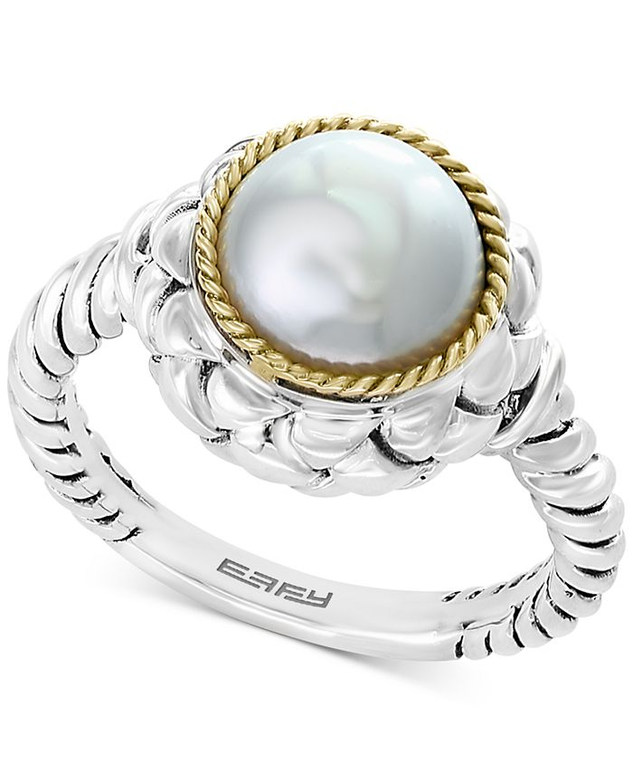 EFFY Collection - Cultured Freshwater Pearl (9mm) Ring in Sterling Silver & 18k Gold