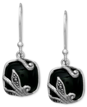 Genevieve & Grace Sterling Silver Earrings, Faceted Onyx (5-10 mm) and Marcasite Flower Square Earrings