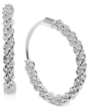 Unwritten Sterling Silver Earrings, Open Weave Endless Hoop Earrings
