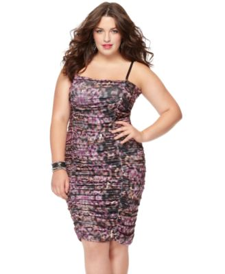 Apple Bottoms Plus Size Dress, Strapless Removable Strap Printed Ruched