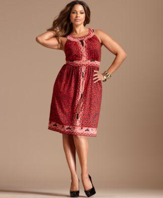 INC International Concepts Plus Size Dress, Sleeveless Printed Keyhole