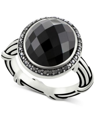 Onyx (8-2/3 ct. t.w.) & Black Spinel Ring in Sterling Silver