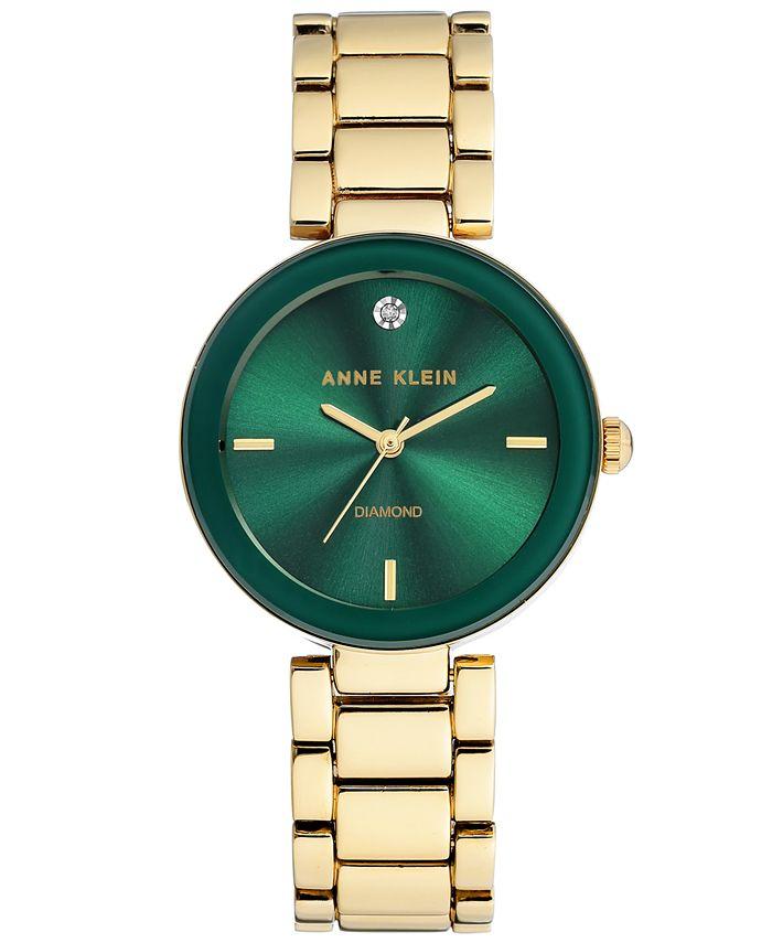 Anne Klein - Women's Diamond-Accent Gold-Tone Bracelet Watch 32mm