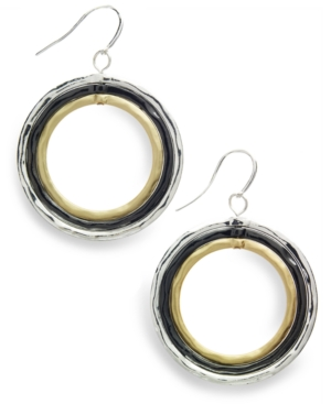 Alfani Earrings, Tri Tone Dangle Earrings