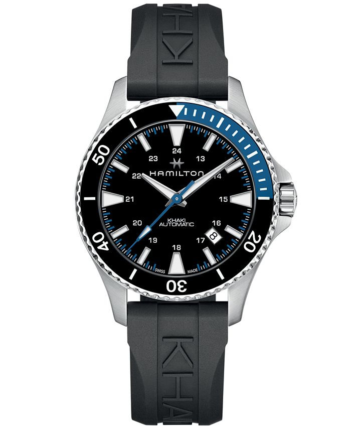 Hamilton - Men's Swiss Automatic Khaki Navy Scuba Black Rubber Strap Watch 40mm