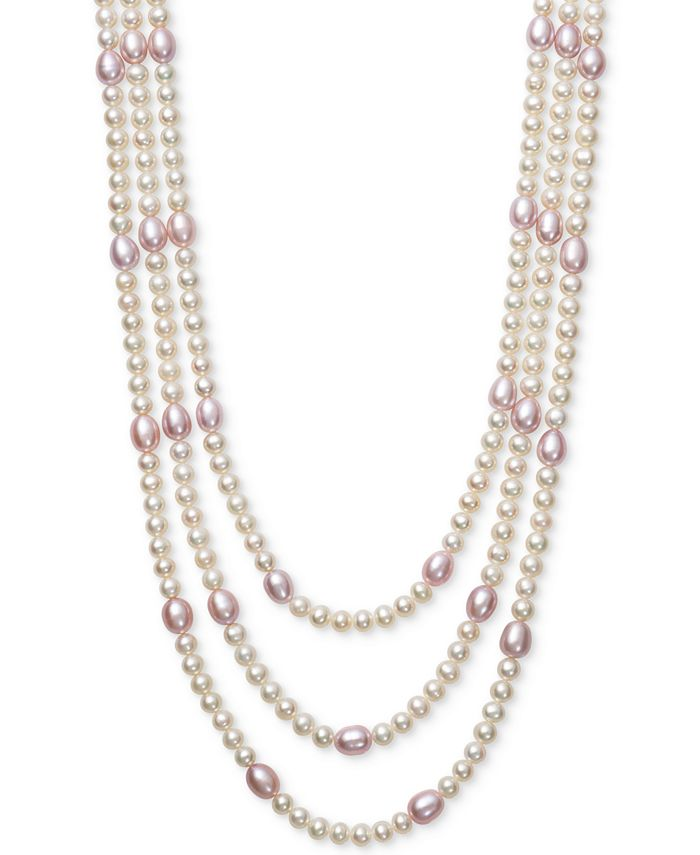 Belle de Mer - White & Pink Cultured Freshwater Pearl (5 & 7mm) Triple Strand Collar Necklace