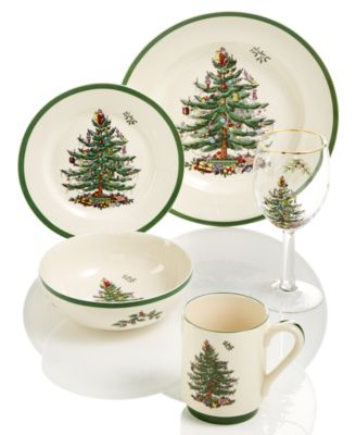 Christmas Tree Dinner Plates, Set of 4