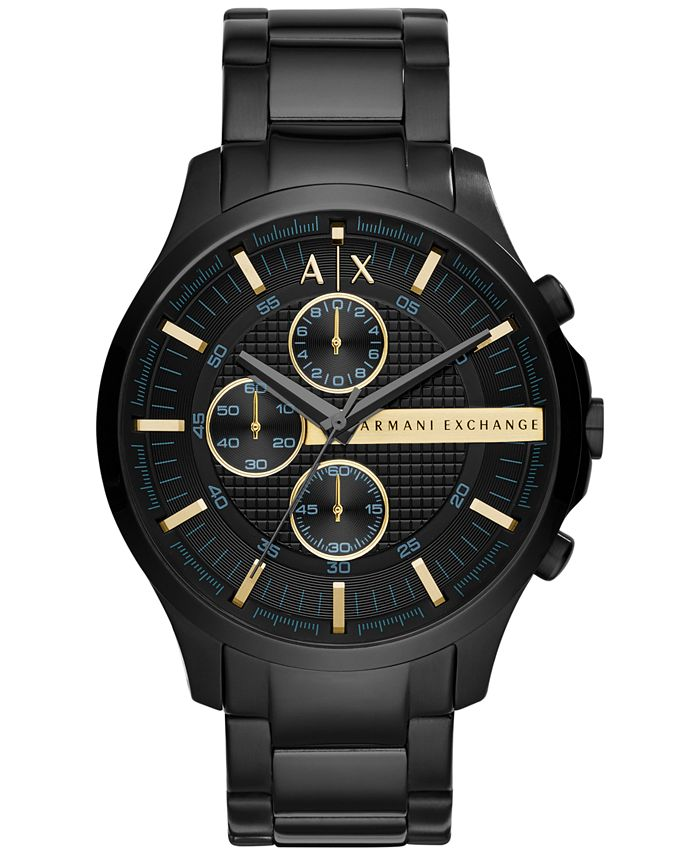 A|X Armani Exchange - Men's Chronograph Hampton Black Stainless Steel Bracelet Watch 46mm
