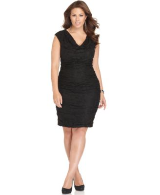 London Times Plus Size Dress, Sleeveless Ruched Lace Cocktail Dress